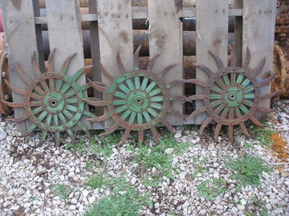 Garden Sunflower Wall Decor : Jd rotary hoe wheel sunflower yard garden wall art