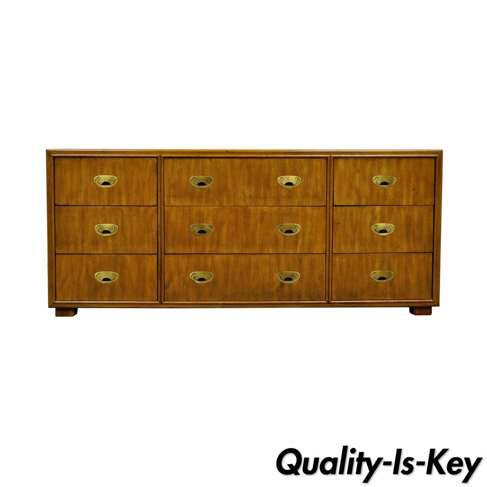 Vtg Drexel Heritage Page Dresser Credenza Campaign Style Chest Mid Century