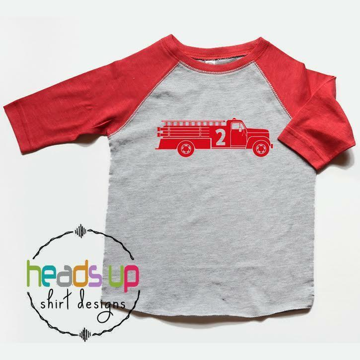Details About Second Birthday Shirt Firetruck