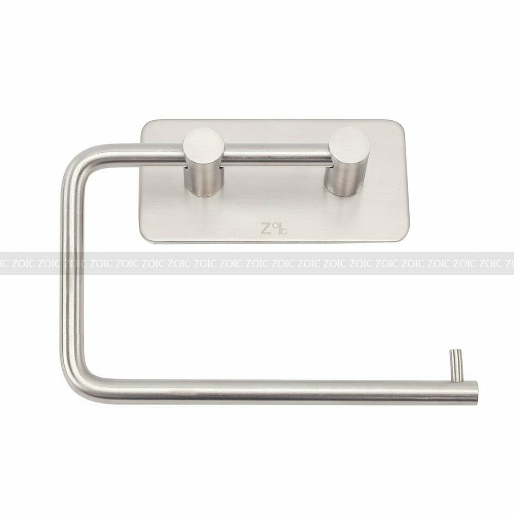adhesive wall mounted bath stainless steel toilet paper holder roll tissue rack ebay. Black Bedroom Furniture Sets. Home Design Ideas