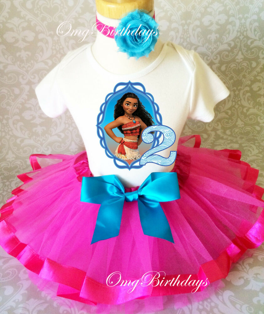 Princess Moana Hot Pink Blue Baby Girl 2nd Second Birthday