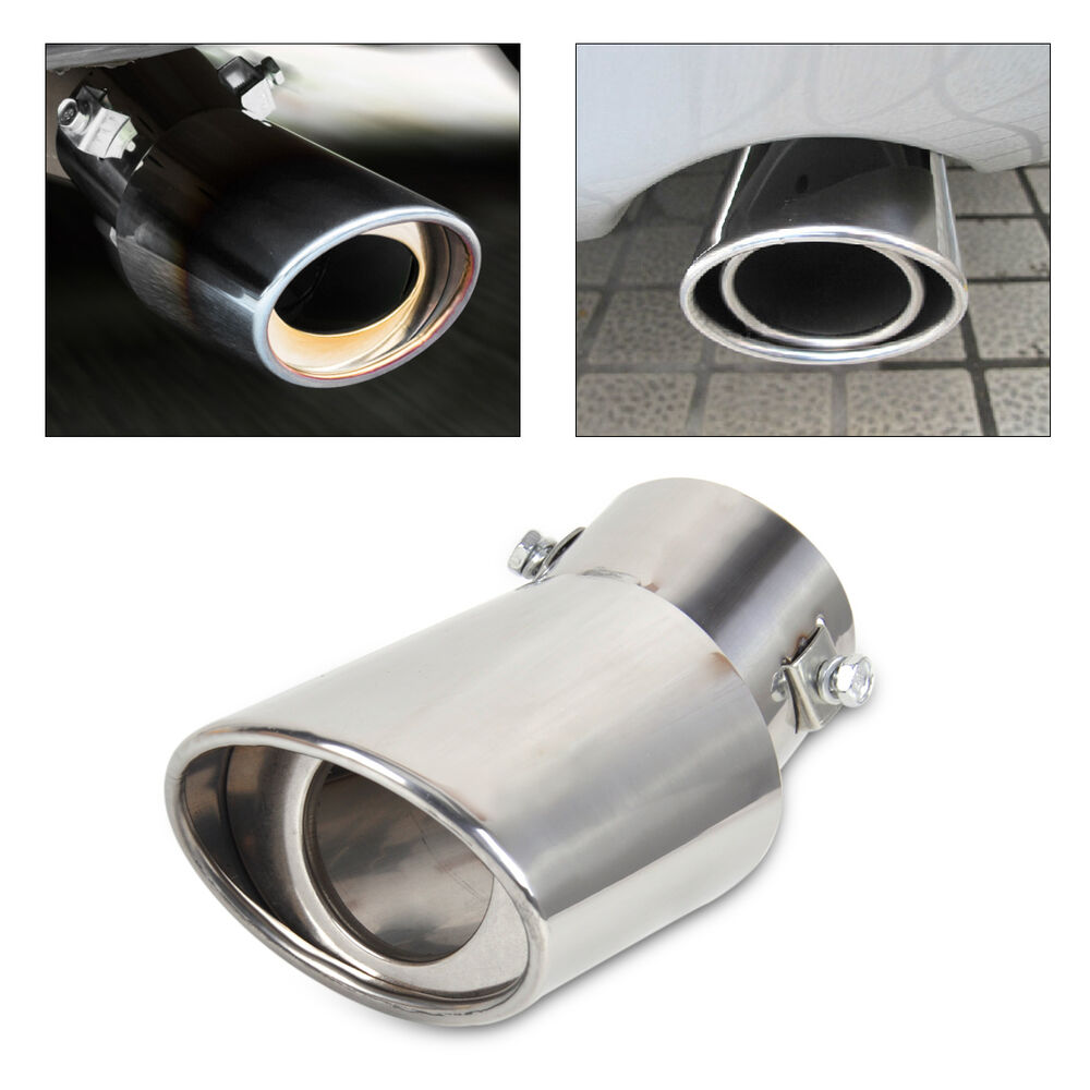 car chrome exhaust tail muffler tip pipe 2 5 63mm outer diameter 32 46mm inside ebay. Black Bedroom Furniture Sets. Home Design Ideas