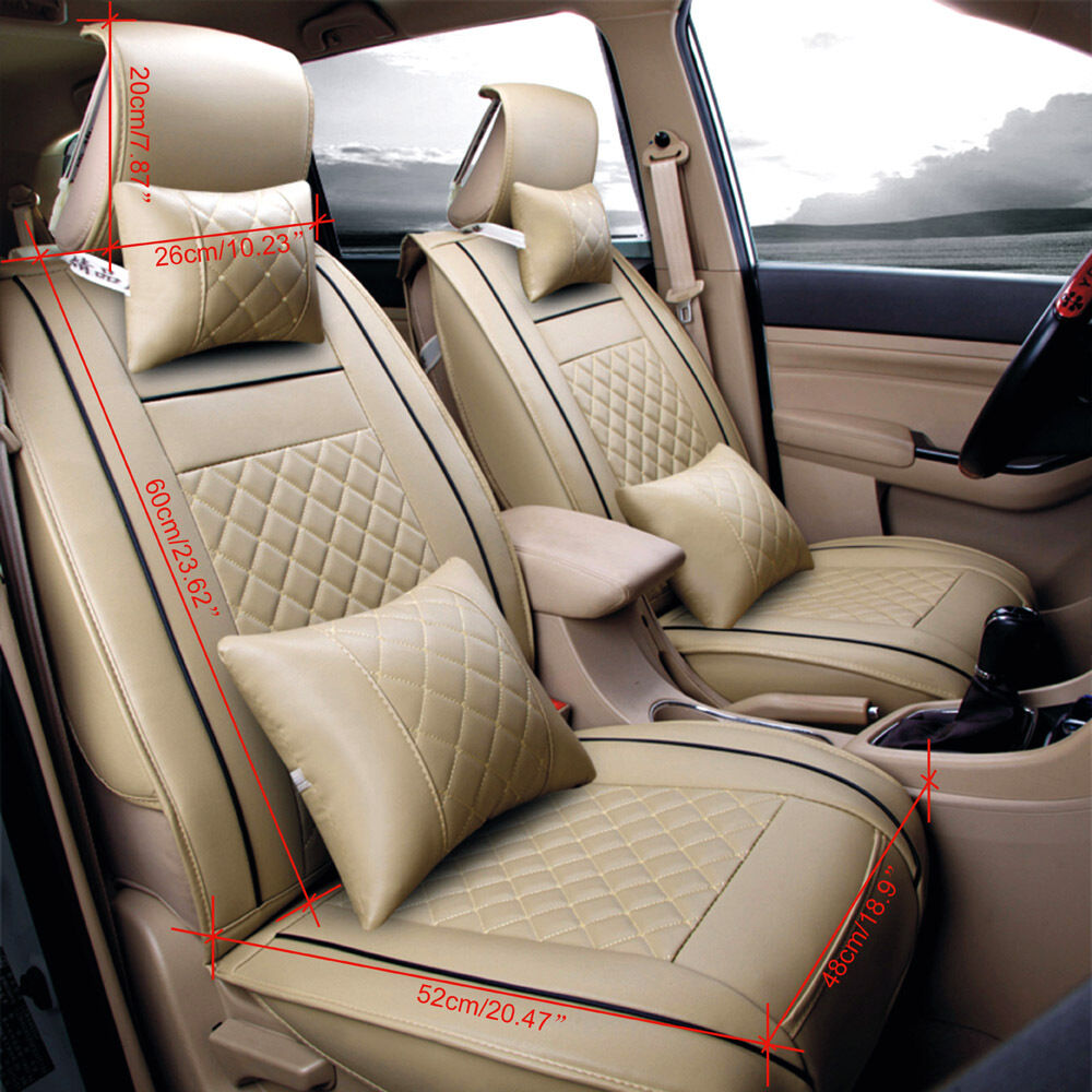 beige car seat cover 5 seats front rear pu leather cushion all season w pillow ebay. Black Bedroom Furniture Sets. Home Design Ideas