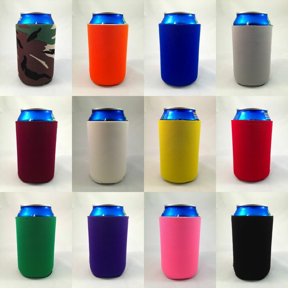 10 Blank Collapsible Neoprene Beer Drink Soda Can Pocket