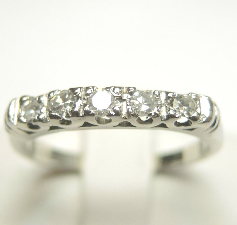 Antique diamond wedding band platinum ring size 55 egl for Where can i sell my old wedding ring