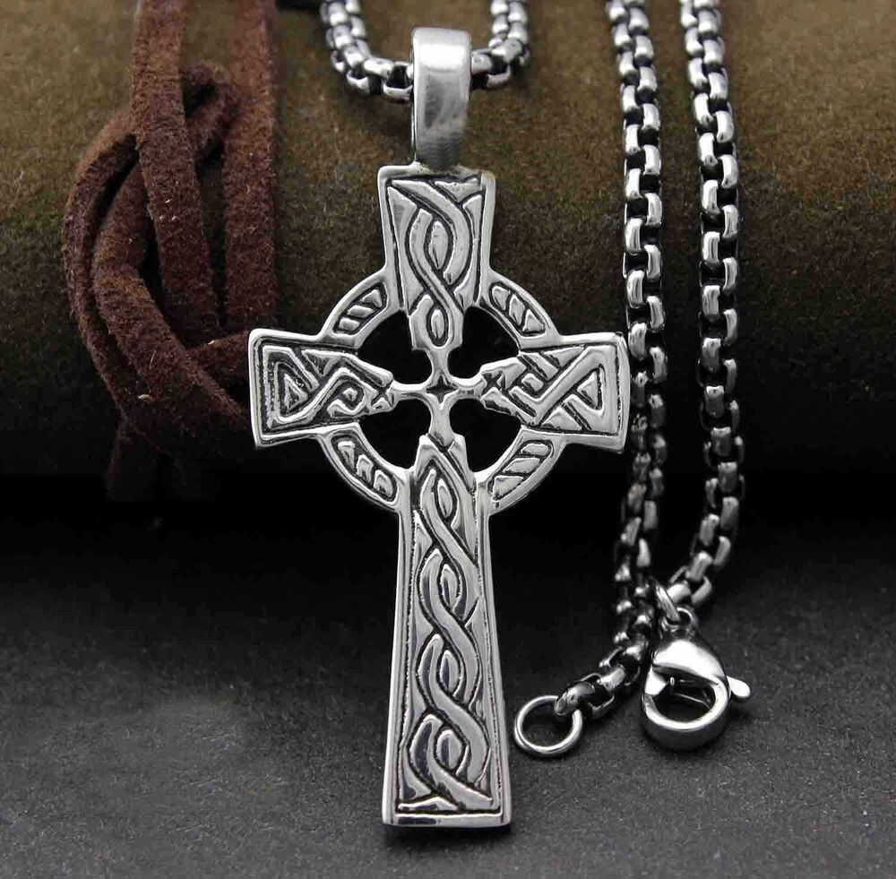 Irish Celtic Cross Ireland Pendant Necklace Titanium