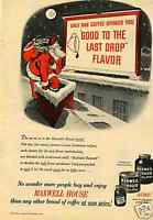 1948 Maxwell House Coffee Christmas Santa Claus Print Ad