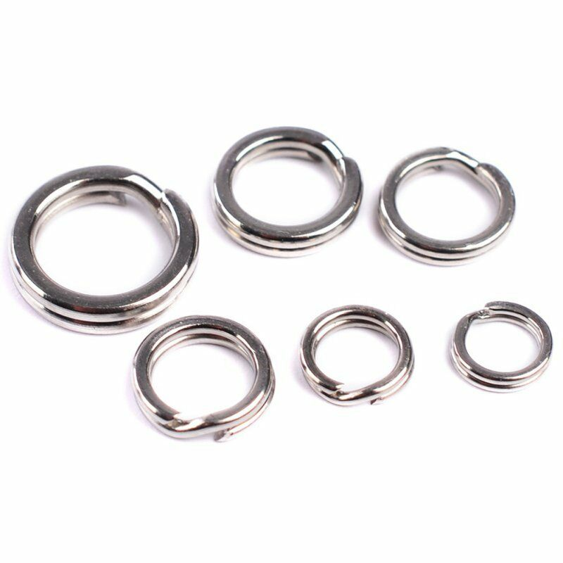 100 piece fishing solid stainless steel snap split ring for Fishing split rings