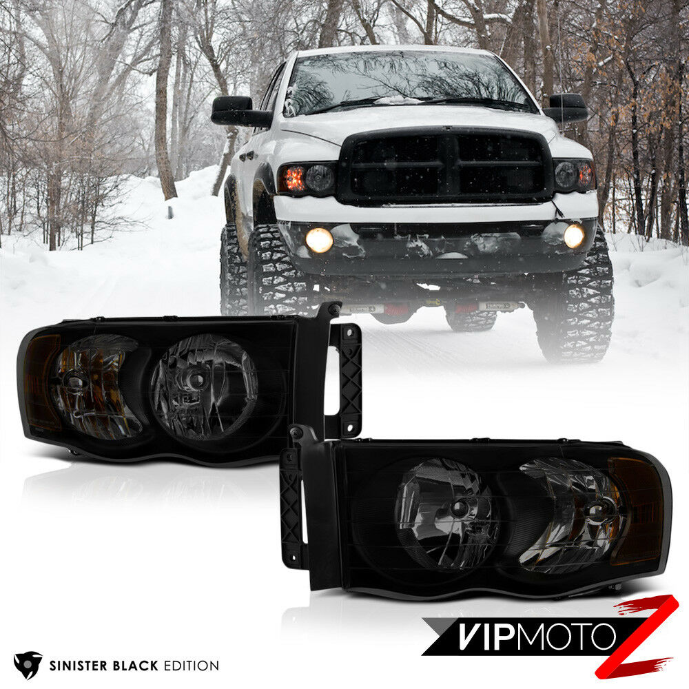 2002 2005 Dodge Ram 1500 Quot Sinister Black Quot Front Headlights