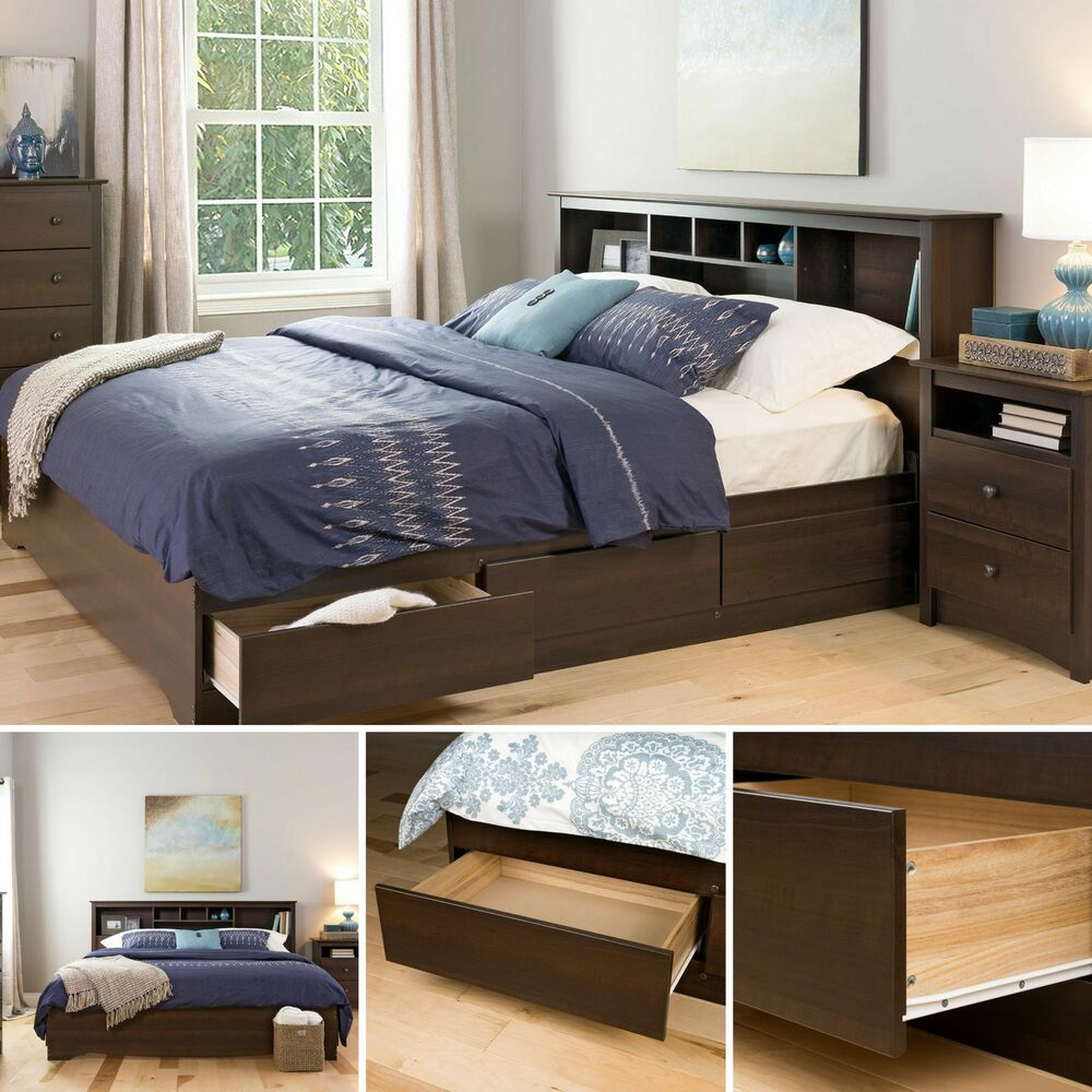 brown platform bed frame king size wood bedroom furniture 6 drawers storage ebay. Black Bedroom Furniture Sets. Home Design Ideas