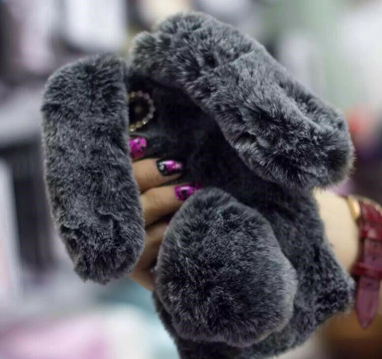 Adorable Warm Fluffy Rabbit Fur Phone Case Cover For Iphone Samsung Smartphones Ebay