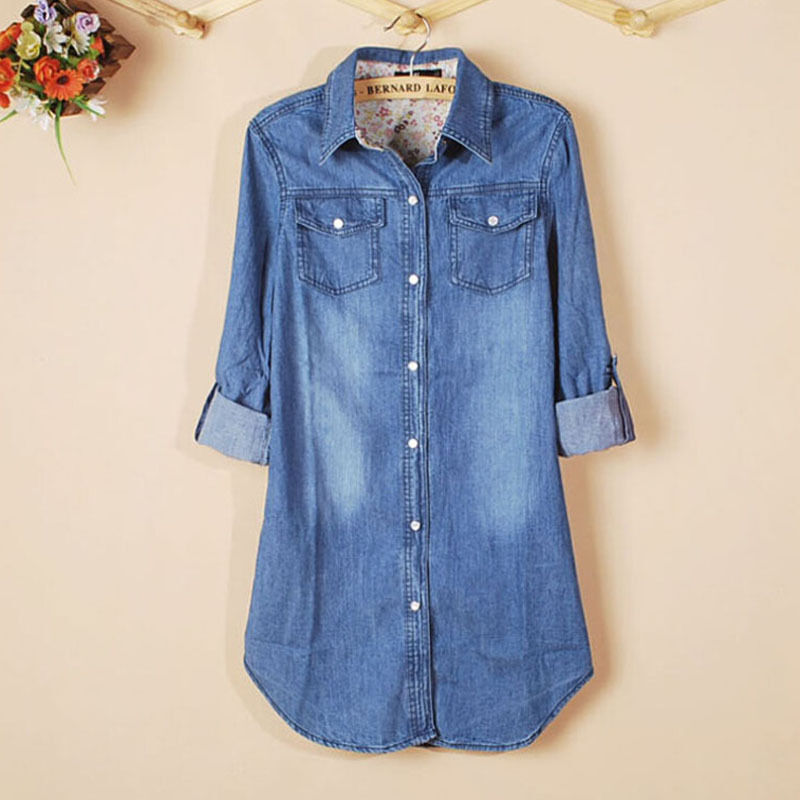 New womens casual long sleeve vintage blue denim shirt for Blue denim shirt for womens