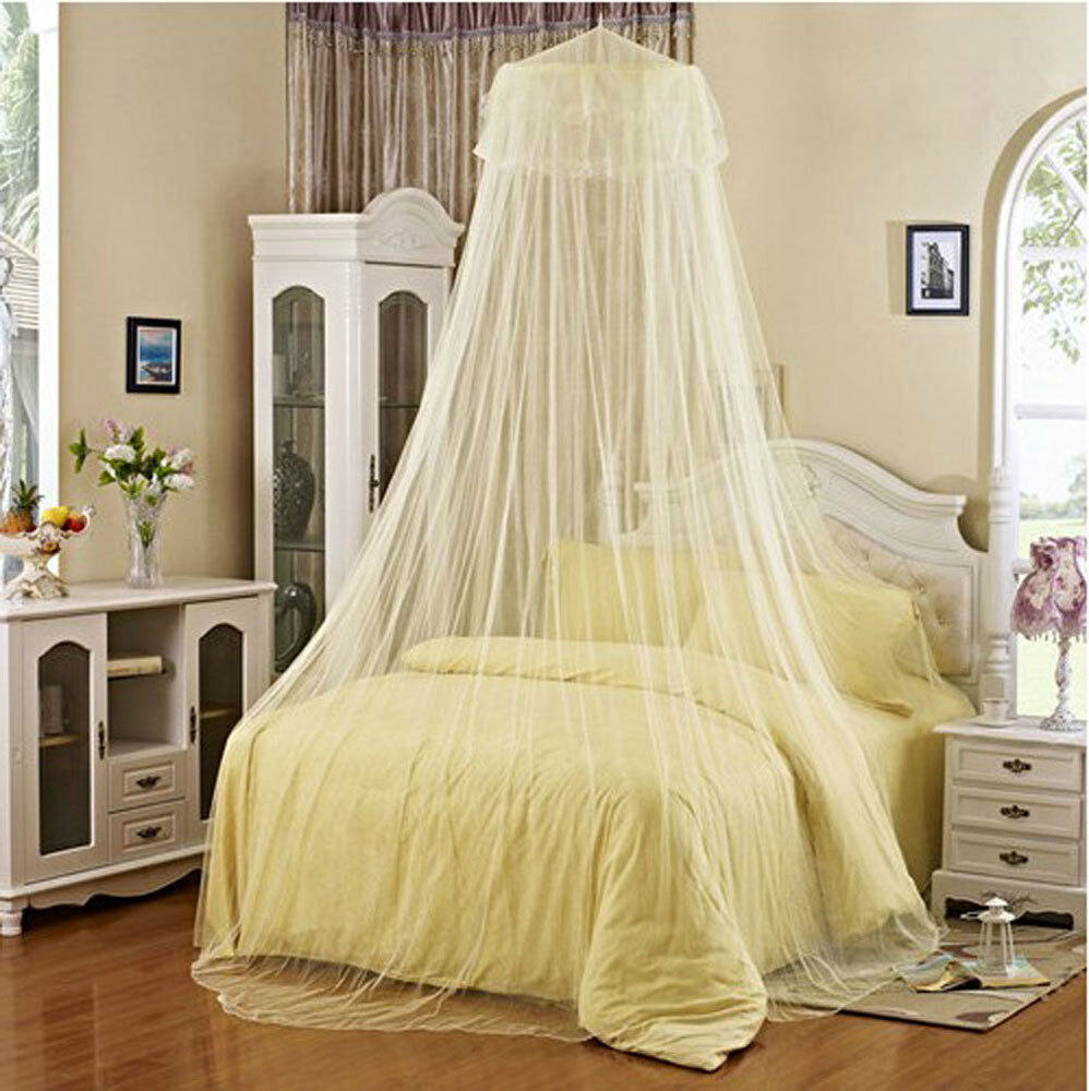 new white yellow elegant lace princess bed round canopy netting