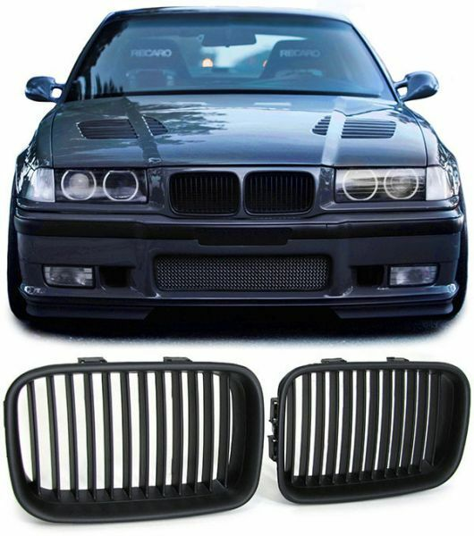 2 grille de calandre noir bad look bmw serie 3 e36 phase 1 de 1990 a 08 1996 ebay. Black Bedroom Furniture Sets. Home Design Ideas