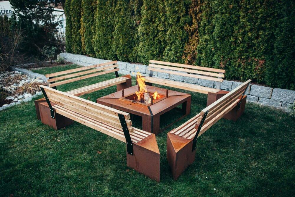 edelrost feuerstelle garten rost bank lagerfeuer holzgrill grillrost feuer holz ebay. Black Bedroom Furniture Sets. Home Design Ideas