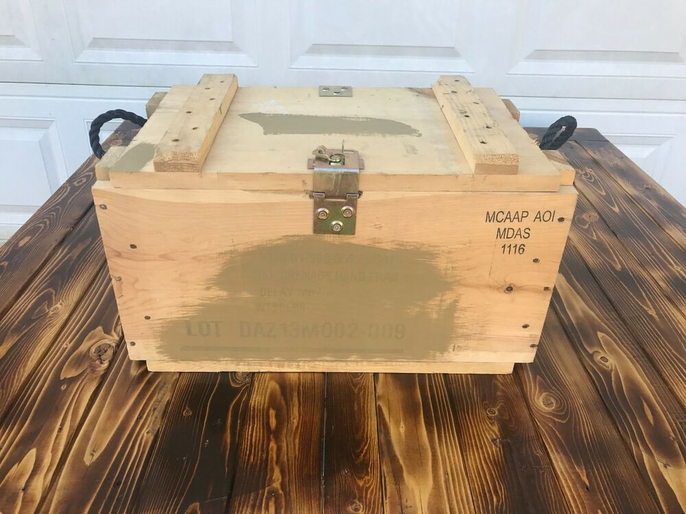 Us Army Wooden Ammunition Ammo Crate Grenade Wood Box