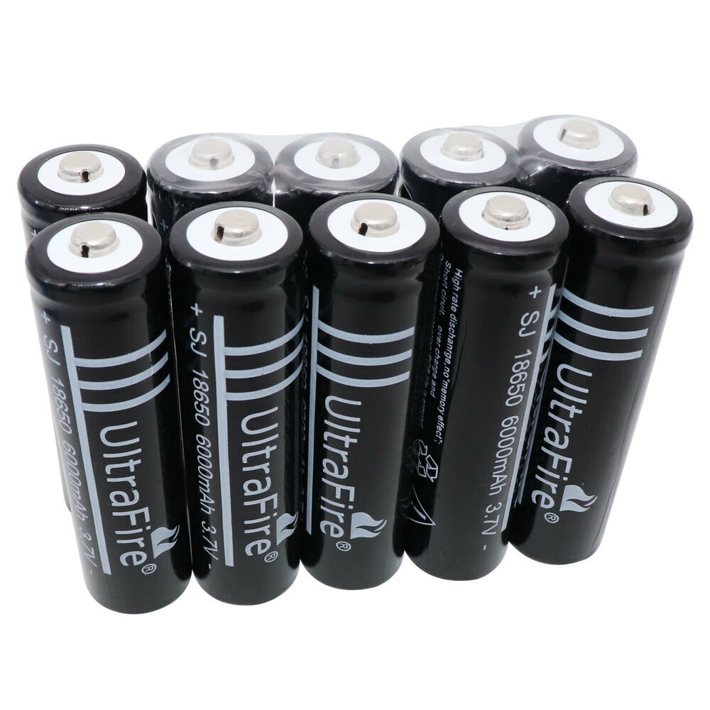 10x 3 7v 18650 li ion 6000mah rechargeable battery for flashlight headlamp led ebay. Black Bedroom Furniture Sets. Home Design Ideas