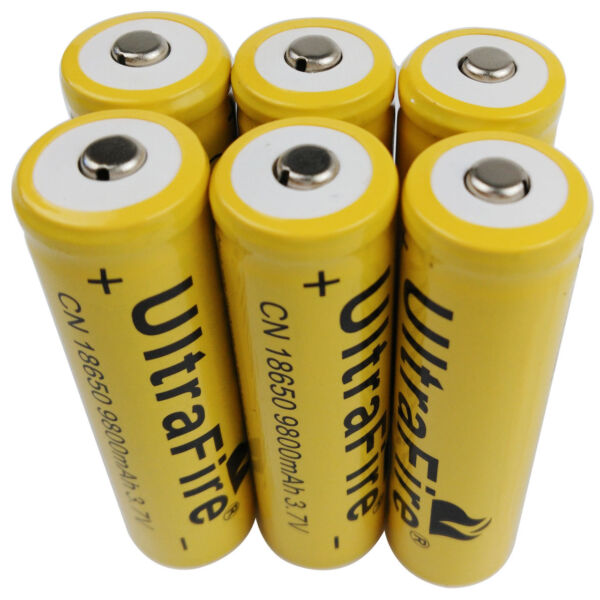 6 X 3.7V 18650 9800mAh Li-ion Rechargeable Battery For Flashlight Torch LED RC