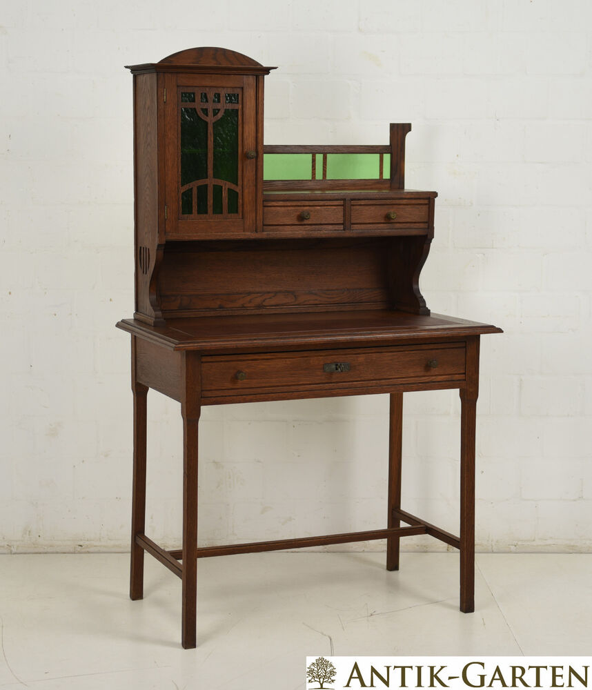 antik jugendstil damen schreibtisch mit aufsatz um 1910 eiche massiv sekret r ebay. Black Bedroom Furniture Sets. Home Design Ideas