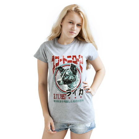 img-Laika The Space Dog T Shirt Japanese Science Retro USSR Sputnik Womens Girls Tee