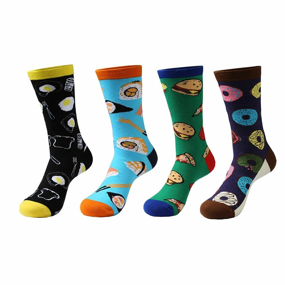 Zmart 4 Pairs Mens Crazy Funny Cute Novelty Cotton Food ...