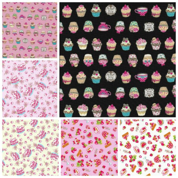 Children Kids Fabric 100% Cotton material - Tea Time Strawberry Cup Cake Sewing