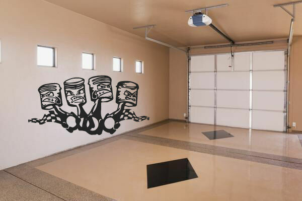 Wall Vinyl Sticker Decals Mural Kids Funy Pistons Garage