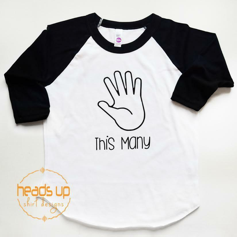 f2c6eee2 Details about I Am This Many Finger Age Shirt 5 Five Birthday Raglan  Toddler Boy/Girl 5th Bday