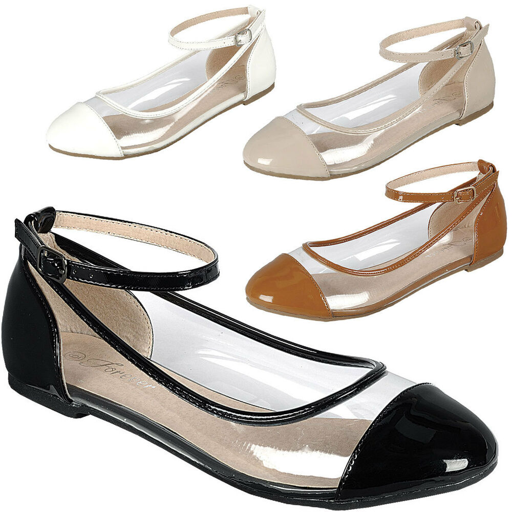 3fbccaf15353 Details about Womens Transparent Clear Lucite Round Toe Ankle Strap  Ballerina Ballet Flat Shoe