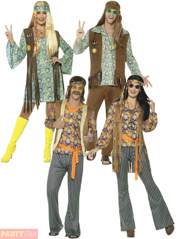 Adults 60s 70s Hippie Costume Mens Ladies Hippy Fancy Dress Womens Retro Outfit | eBay