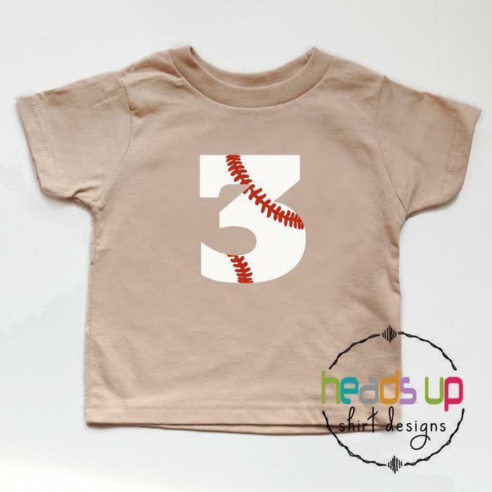 Details About Toddler 3rd Birthday Shirt Boy Girl Baseball Third Bday Tee Trendy 3 Kids Tshirt