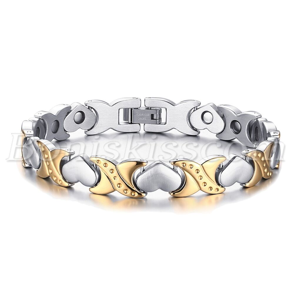 Stainless Steel Bracelet Charms: Silver Gold Tone Stainless Steel Charm Heart Magnetic