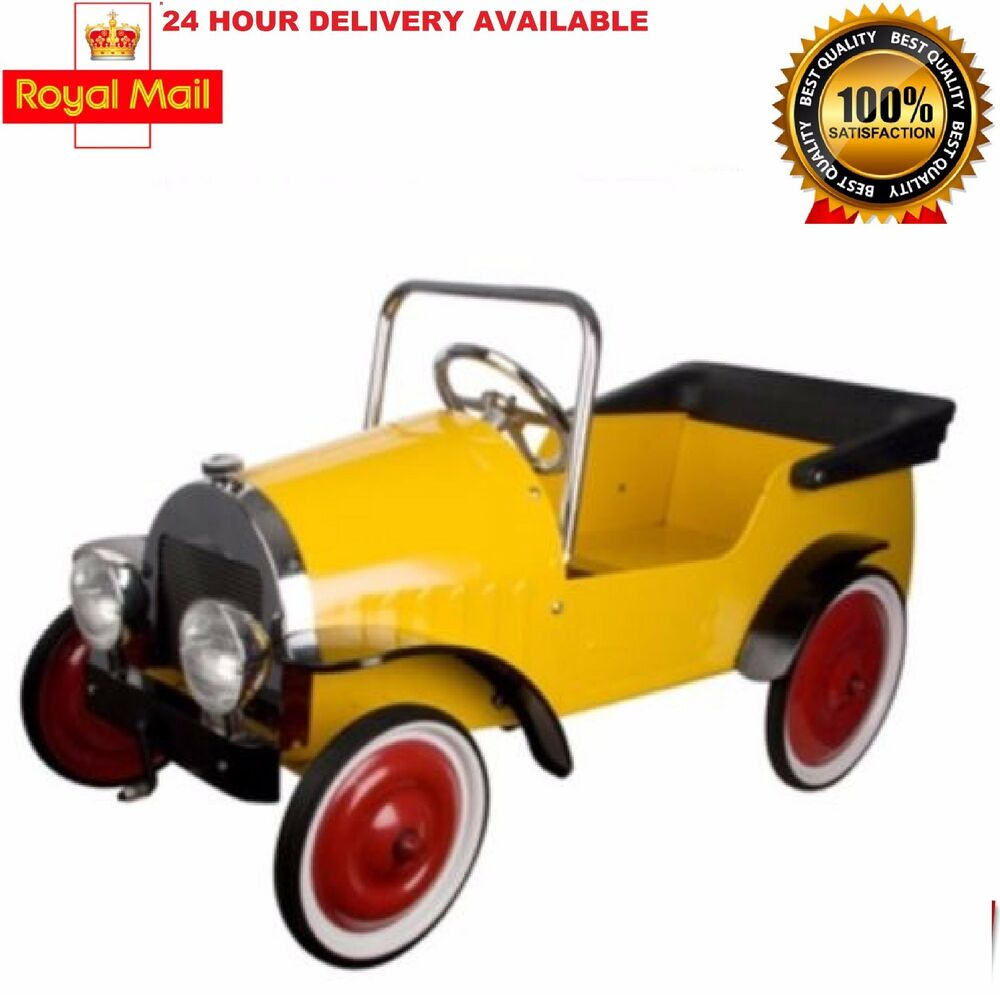 Children S Yellow Classic Pedal Metal Car Ride On Vintage