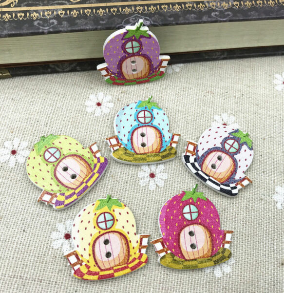 Wooden Buttons Strawberry house shape Fit Sewing crafts Scrapbooking 28mm