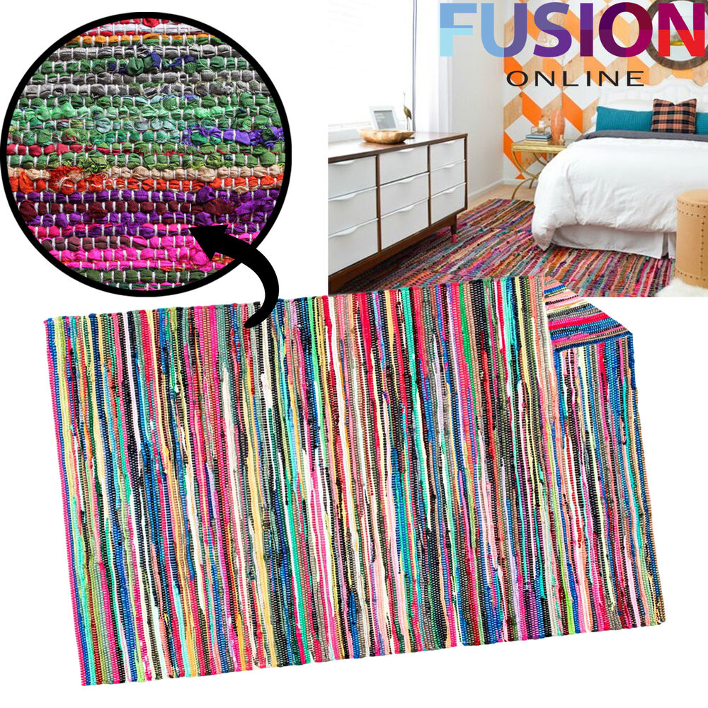 100% COTTON HANDMADE MULTI COLOUR CHINDI RUG AREA RAG RUGS FLAT WEAVE MAT MATS