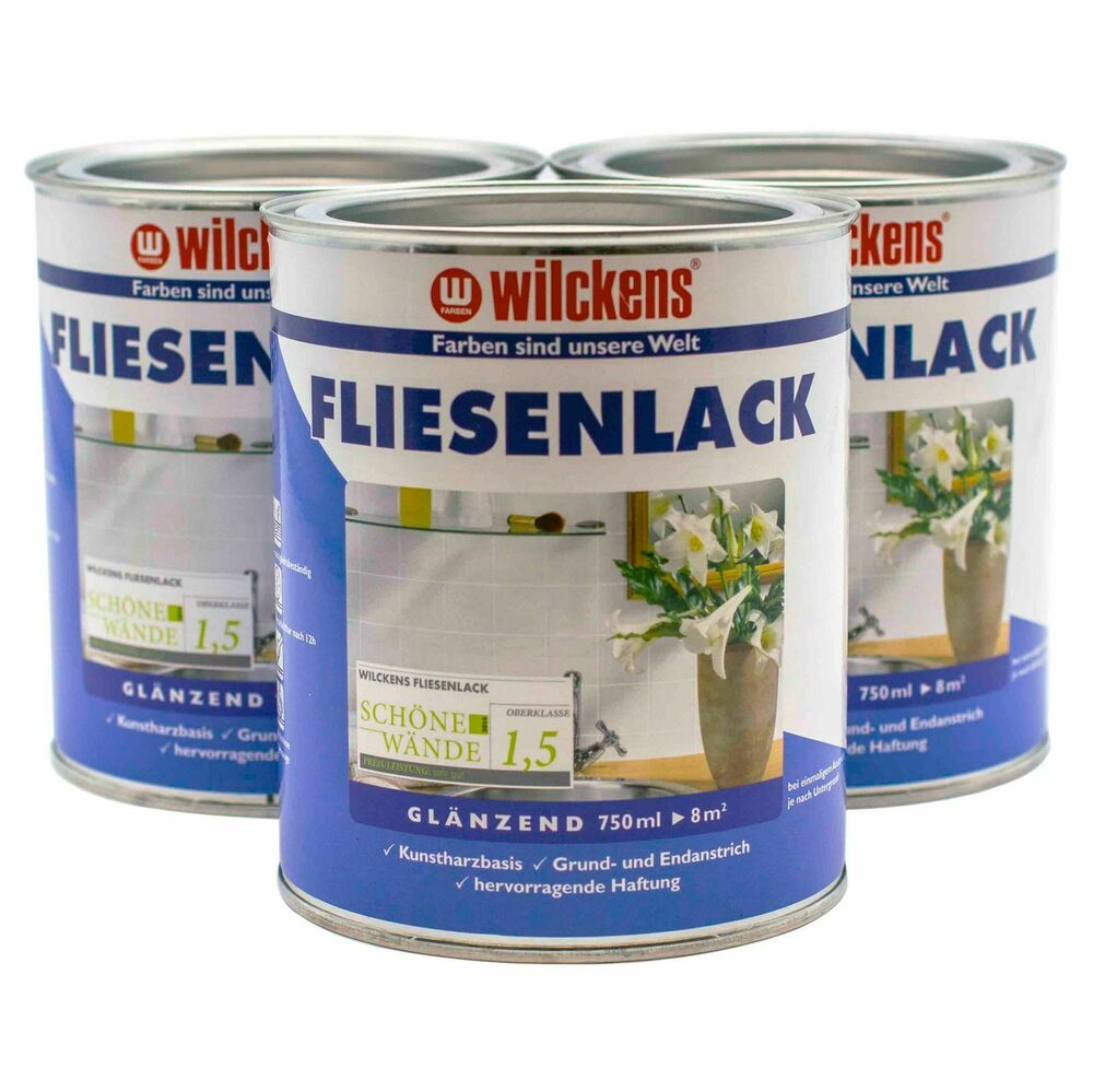 fliesenlack wilckens fliesen lack fliesenfarbe gl nzend 750ml 8 93 1l ebay. Black Bedroom Furniture Sets. Home Design Ideas
