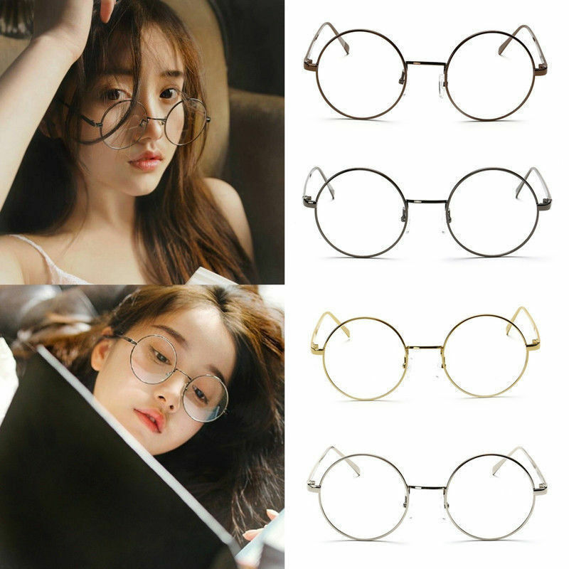 4e3741192f Details about UK Large Big Round Metal Frame Clear Lens Round Circle Eye  Glasses Retro Vintage