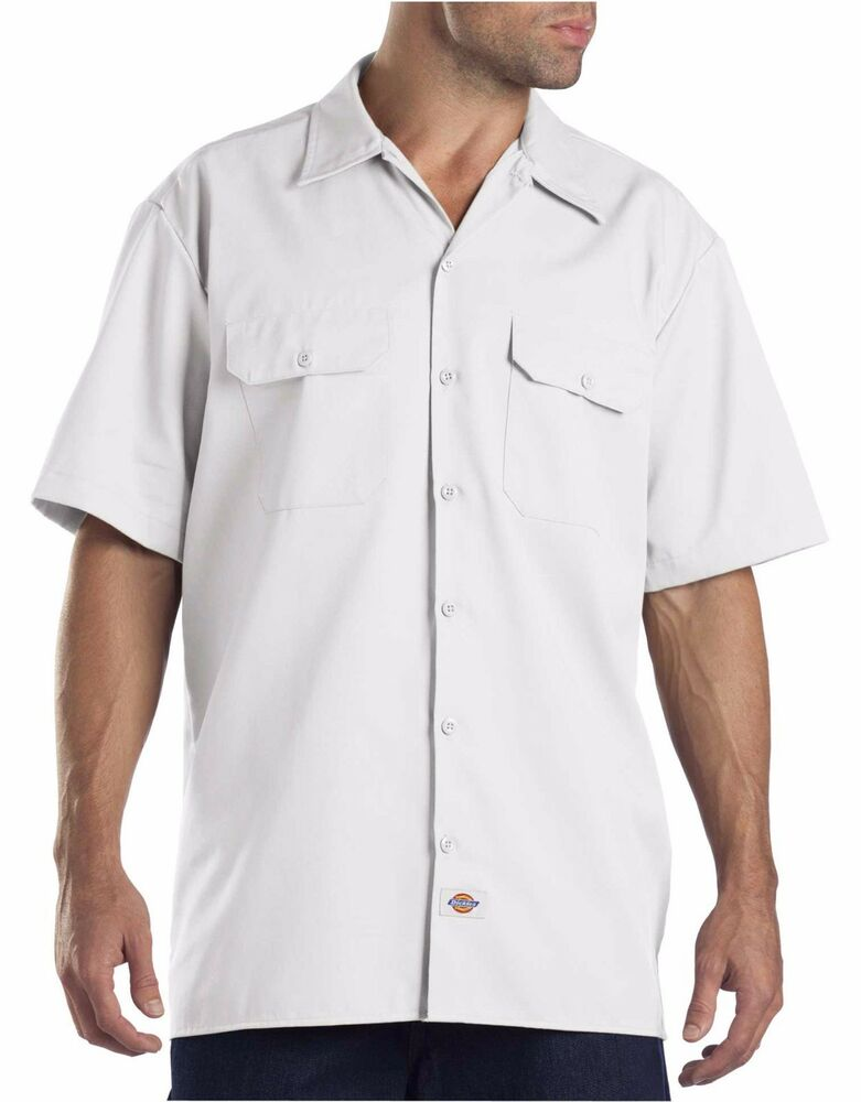 dickies mens white short sleeve work uniform button up