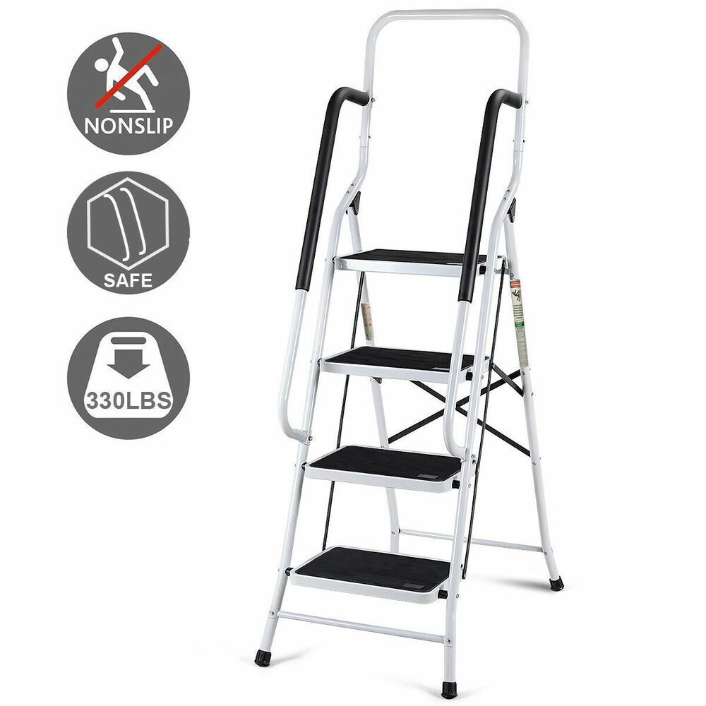 2 In 1 Non Slip 4 Step Ladder Folding Stool W Handrails