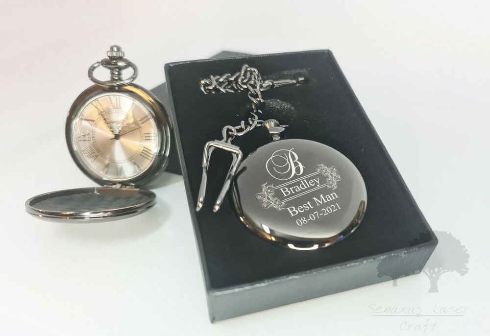 Wedding Gift Groom Watch : Personalised wedding gift Black Pocket Watch groom/bride party favours ...