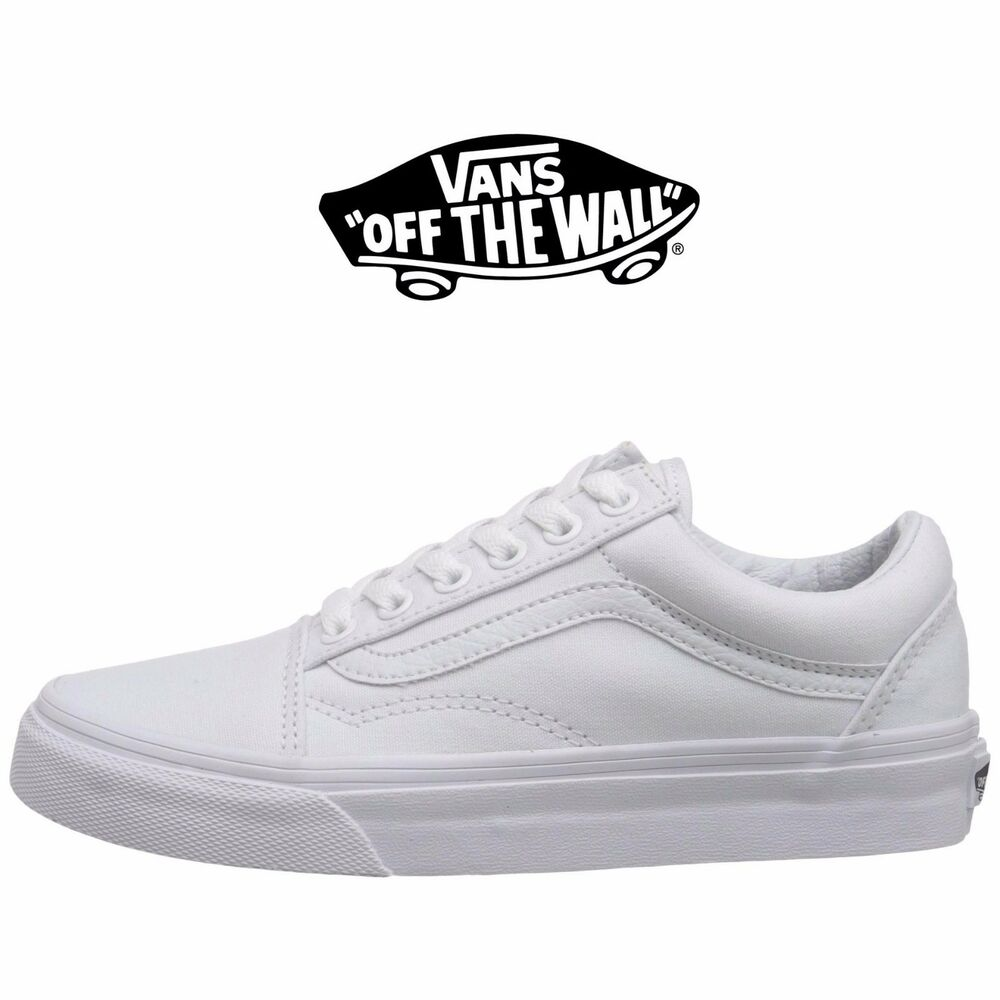 vans all white. mens vans old skool fashion sneaker core classic white canvas suede all size new | ebay