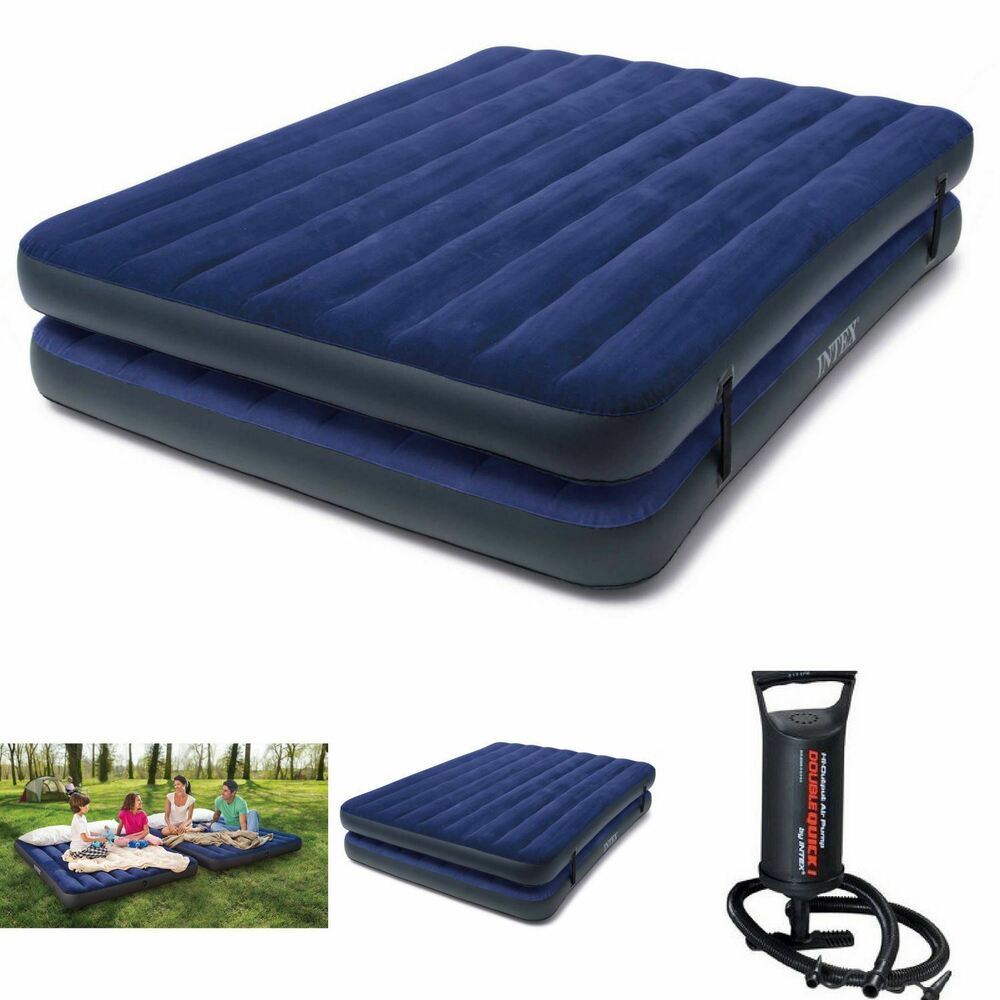 Double Airbed Air Mattress Queen Size Intex Inflatable Raised Camping Bed W Pump Ebay