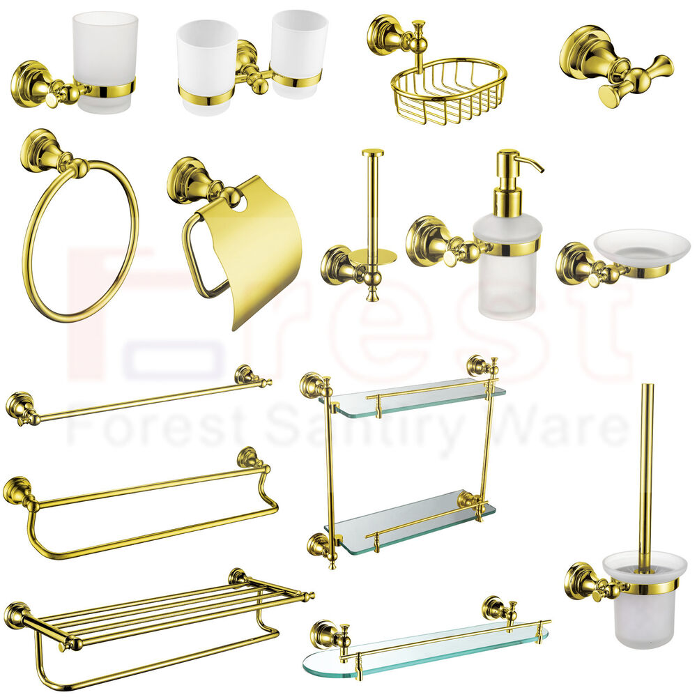 Gold Bathroom Accessory Towel Rail Rack Bar Paper Tissue