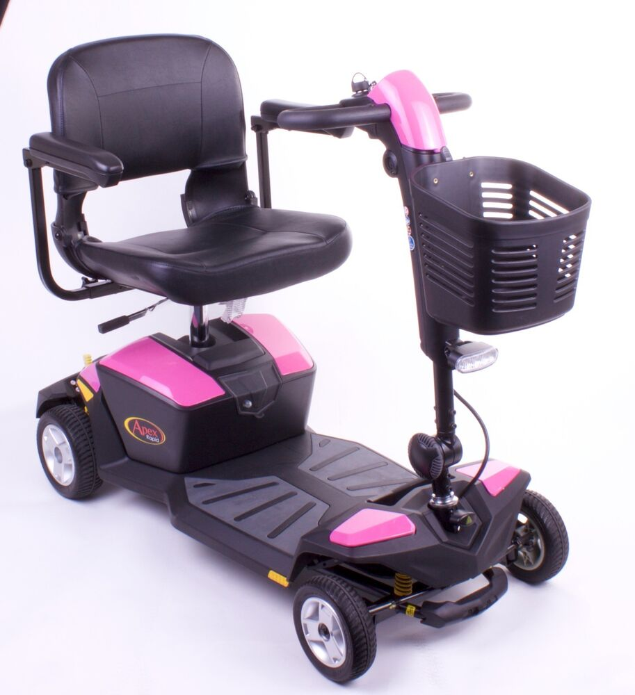 Pride Mobility Scooter >> New PINK Pride Apex Rapid - 18ah Battery Travel Mobility Boot Scooter - Lights   eBay