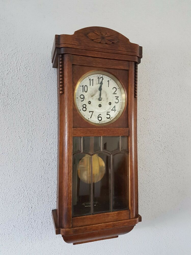 0129 Antique German Junghans Westminster Chime Wall Clock