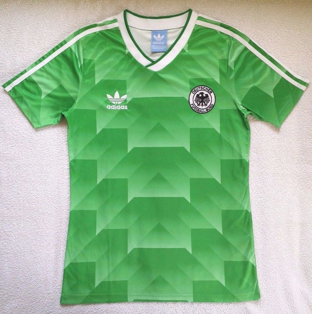 1990 west germany away retro vintage soccer football shirt for Germany mercedes benz soccer jersey
