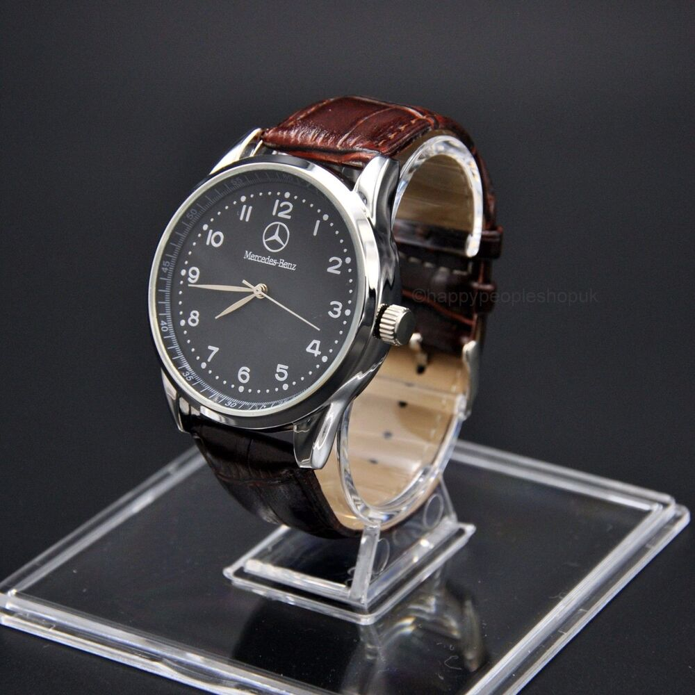 Mercedes benz men 39 s watch stainless steel brown leather for Mercedes benz watches ebay
