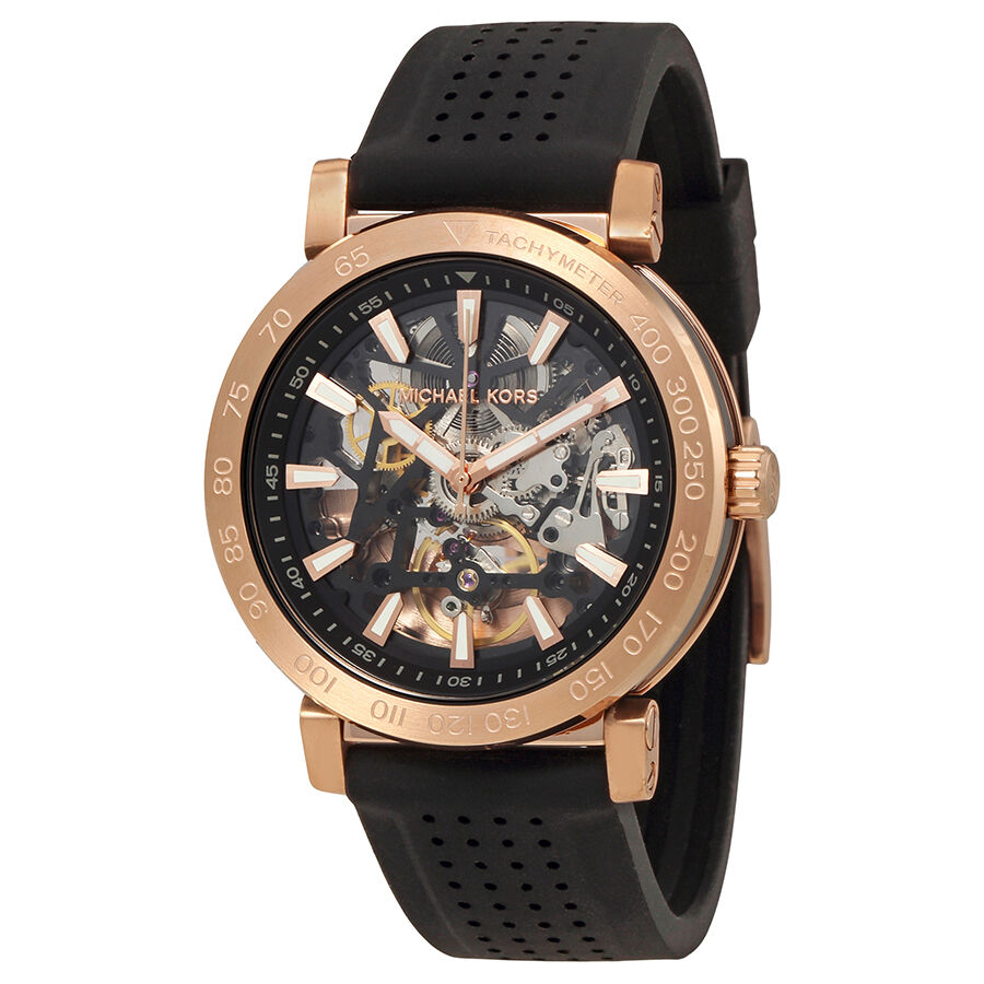 michael kors halo skeleton automatic mens rubber