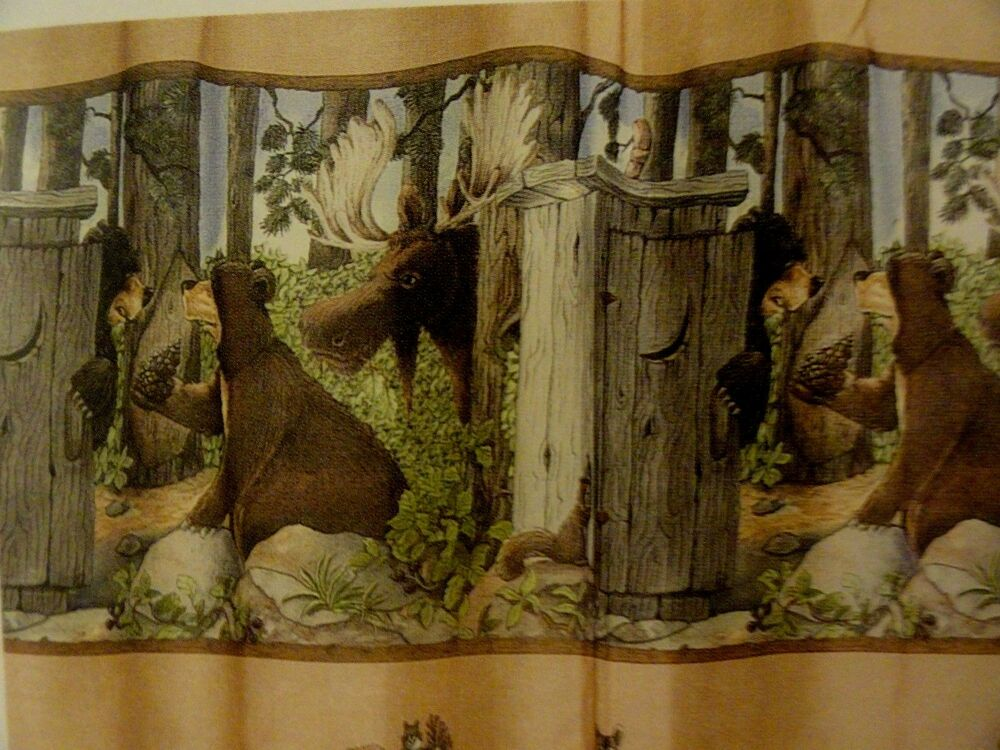 Rustic Bear Out House Camping Hunting Cabin Fabric Shower