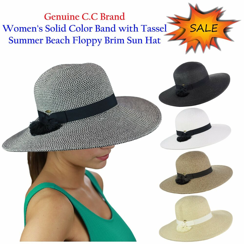 Details about NEW C.C Women s Solid Color Band with Tassel Summer Beach  Floppy Brim CC Sun Hat 1799f77addd